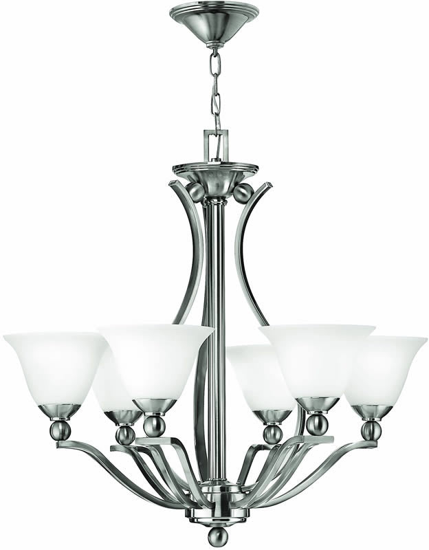 "29""w Bolla 6-Light Chandelier Brushed Nickel"