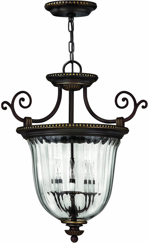 "21""w Cambridge 3-Light Dual-Mount Foyer Chandelier/Semi-Flush Olde Bronze"