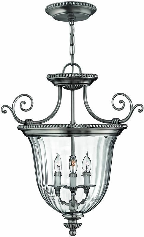 "21""w Cambridge 3-Light Dual-Mount Foyer Chandelier/Semi-Flush Pewter"