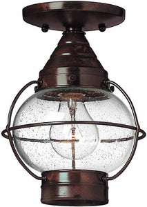 "7""w Cape Cod 1-Light Dual-Mount Outdoor Flush Mount Fixture/Semi Flush Sienna Bronze"