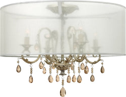 "24""w Carlton 4-Light Semi Flush Foyer Silver Leaf"