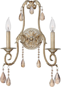 "14""w Carlton 2-Light Wall Sconce Silver Leaf"