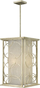 "16""w Flourish 4-Light Foyer Silver Leaf"