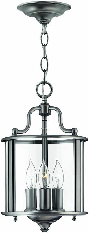"8""w Gentry 3-Light Foyer Chandelier Pewter"