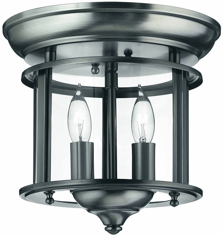 "10""w Gentry 2-Light Flush Mount Fixture Pewter"