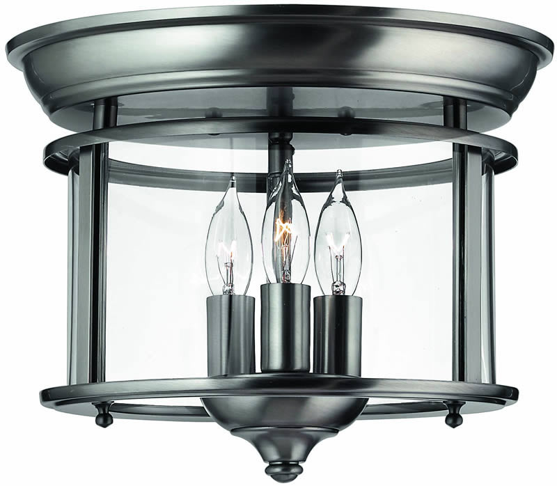 "12""w Gentry 3-Light Flush Mount Fixture Pewter"