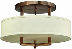 Hinkley Hampton 3-Light Semi-Flush Mount Fixture Brushed Bronze 3201BR