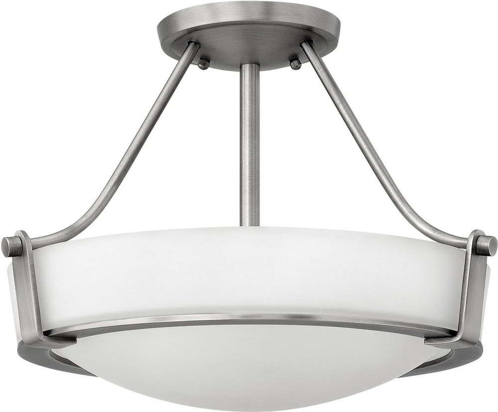 Hathaway 2-Light LED Semi-Flush Foyer Light Antique Nickel