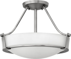 "16""W Hathaway 2-Light LED Semi-Flush Foyer Light Antique Nickel"