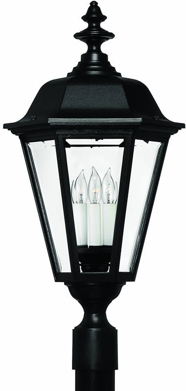 "28""H Manor House 1-Light Extra-Large Outdoor Post Lantern Black"