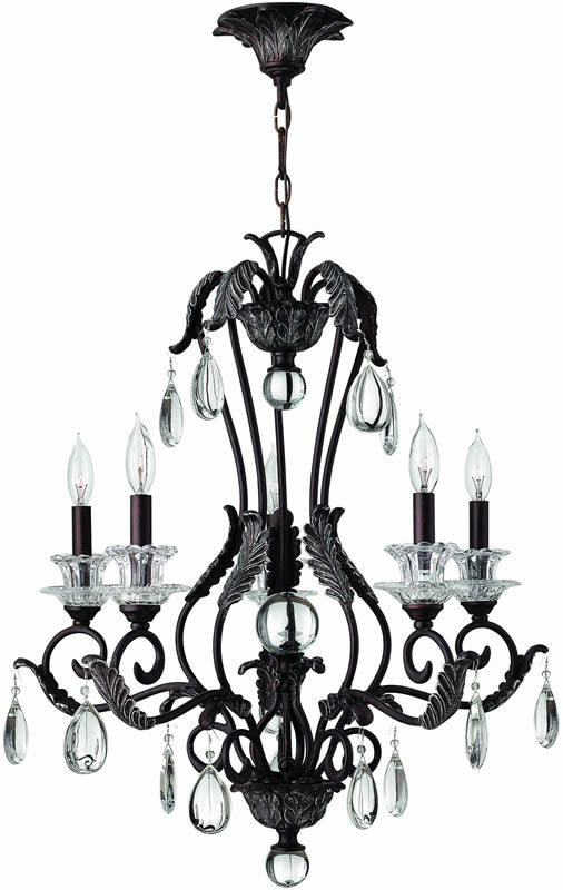 "25""w Marcellina 5-Light Chandelier Golden Bronze"