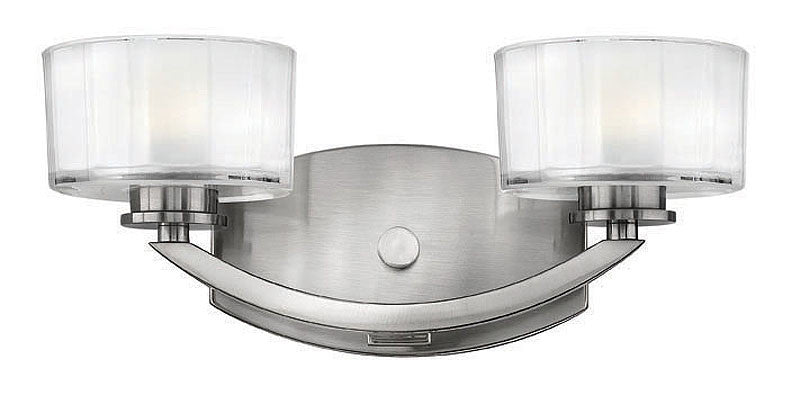 "14""w Meridian 2-Light Bathroom Vanity Brushed Nickel"