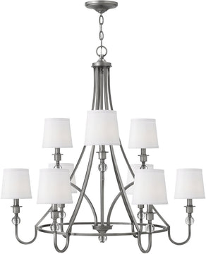 "35""W Morgan 9-Light Chandelier Antique Nickel"