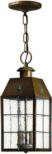 "6""w Nantucket 2-Light Outdoor Pendant Aged Brass"