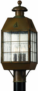 Hinkley Nantucket 3-Light Outdoor Post Lantern Aged Brass 2371AS