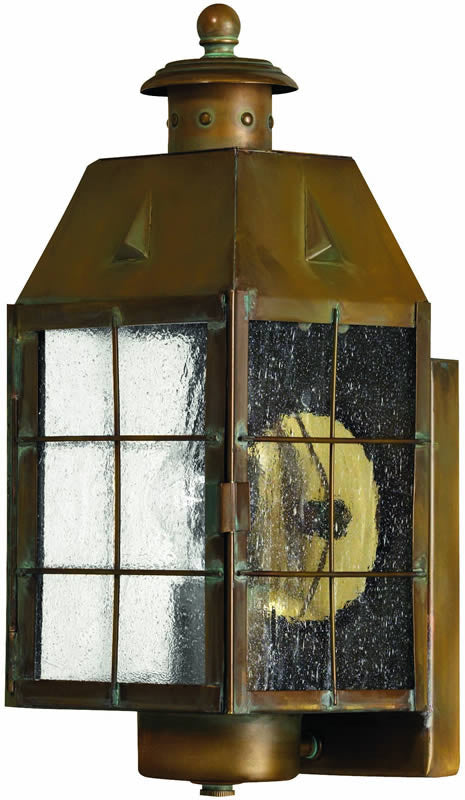"14""h Nantucket 1-Light Outdoor Wall Lantern Aged Brass"