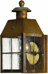 "10""h Nantucket 1-Light Outdoor Wall Lantern Aged Brass"