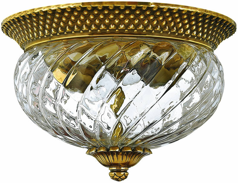 "12""w Plantation 2-Light Flush Mount Fixture Burnished Brass"