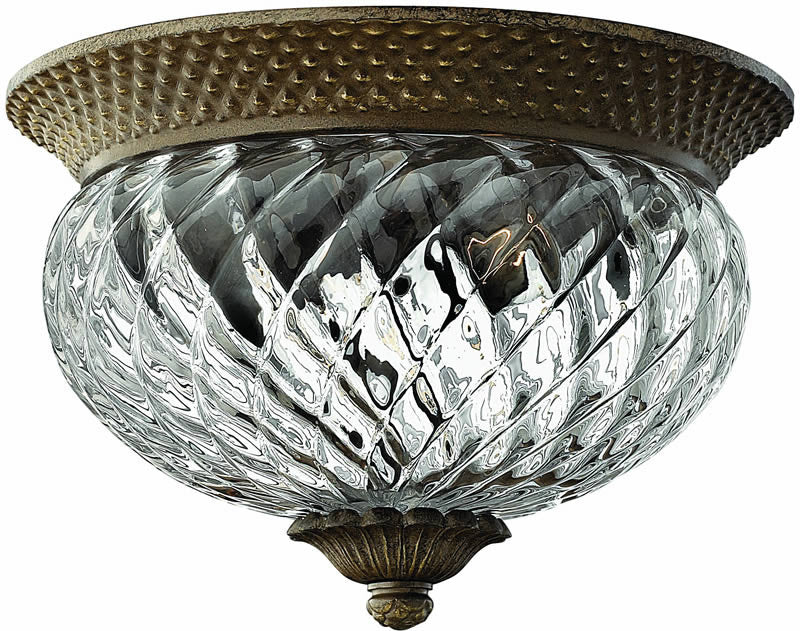 "12""w Plantation 2-Light Flush Mount Fixture Pearl Bronze"