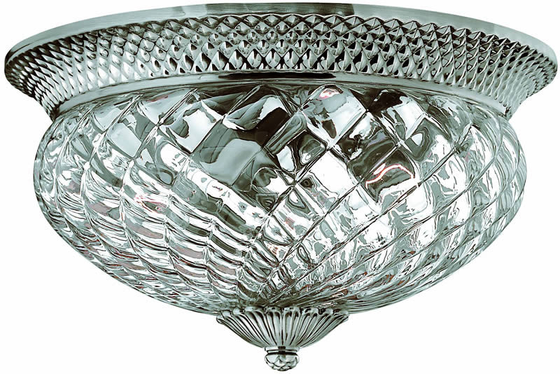 "16""w Plantation 3-Light Flush Mount Fixture Polished Antique Nickel"
