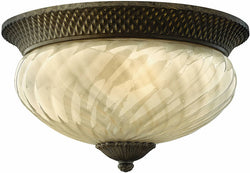 Hinkley Plantation 3-Light Outdoor Flush Mount Fixture Pearl Bronze 2123PZ