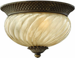 "12""w Plantation 2-Light Outdoor Flush Mount Fixture Pearl Bronze"
