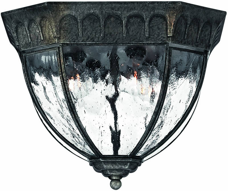 "12""w Regal 4-Light Outdoor Flush Mount Fixture Black Granite"