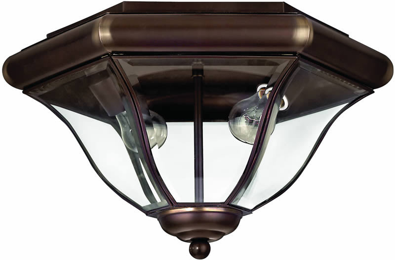 "16""w San Clemente 2-Light Outdoor Flush Mount Fixture Copper Bronze"