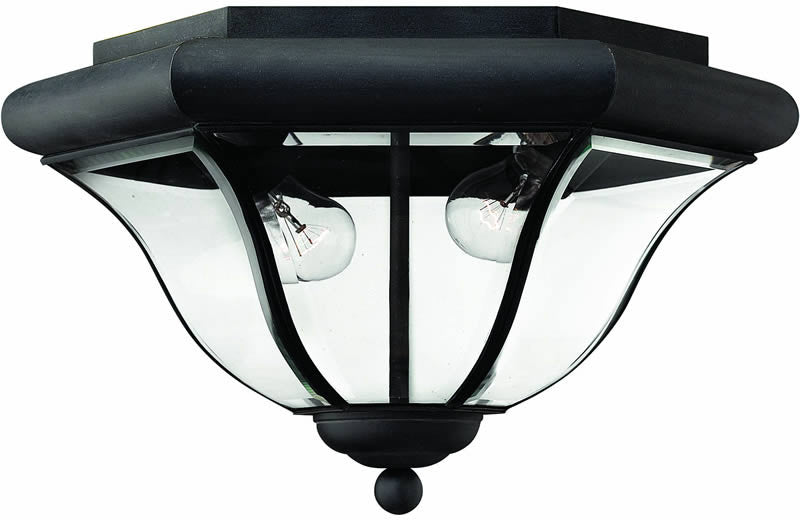 "14""w San Clemente 2-Light Outdoor Flush Mount Fixture Museum Black"