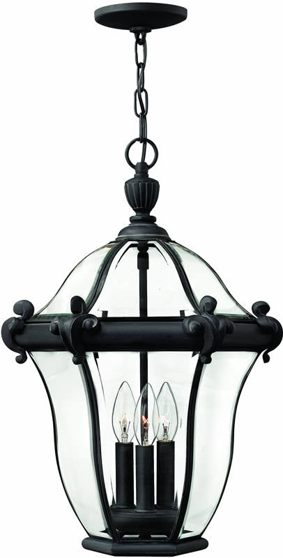"14""w San Clemente 3-Light Outdoor Pendant Museum Black"