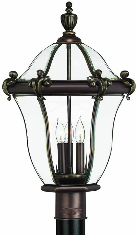 "23""h San Clemente 3-Light Large Outdoor Post Lantern Copper Bronze"