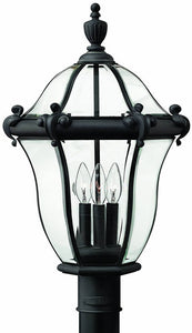 Hinkley San Clemente 3-Light Large Outdoor Post Lantern Museum Black 2441MB