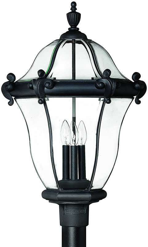 "27""h San Clemente 3-Light Extra-Large Outdoor Post Lantern Museum Black"