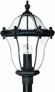 Hinkley San Clemente 3-Light Extra-Large Outdoor Post Lantern Museum Black 2447MB