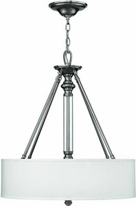 "22""w Sussex 3-Light Pendant Brushed Nickel"