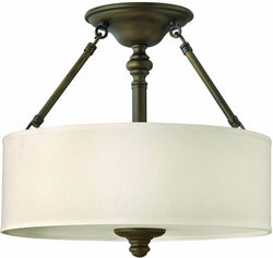 Hinkley Sussex 3-Light Semi-Flush Mount Fixture English Bronze 4791EZ