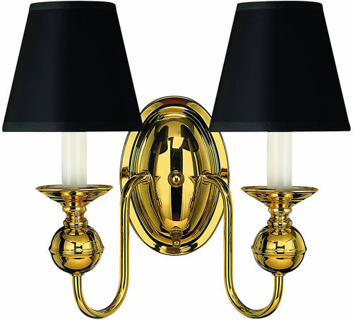 "11""w Virginian 2-Light Wall Sconce Polished Brass"