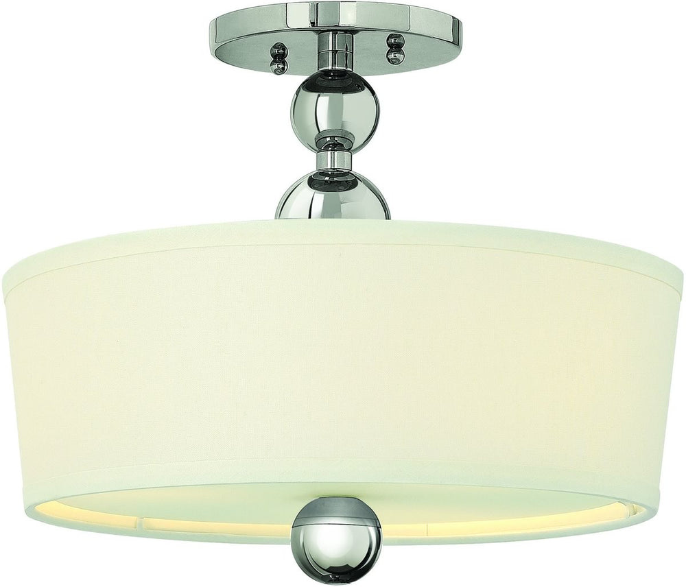 "15""W Zelda 3-Light Foyer Semi Flush Polished Nickel"