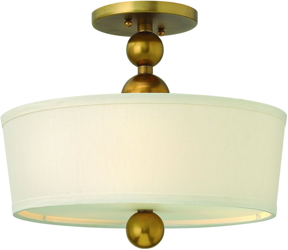 "15""W Zelda 3-Light Foyer Semi Flush Vintage Brass"