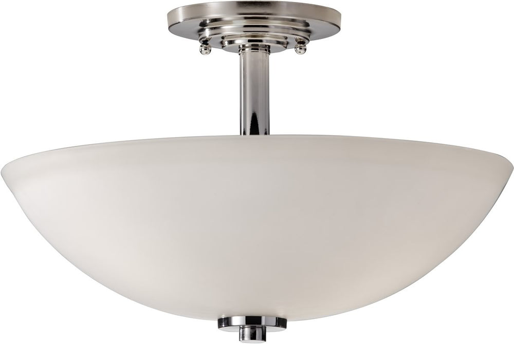 "15""w Malibu 3-Light Semi-Flush Mount Polished Nickel"