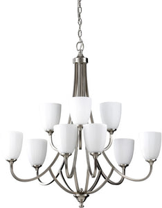 Home Solutions Perry 9-Light Multi-Tier Chandelier Brushed Steel F258563BS