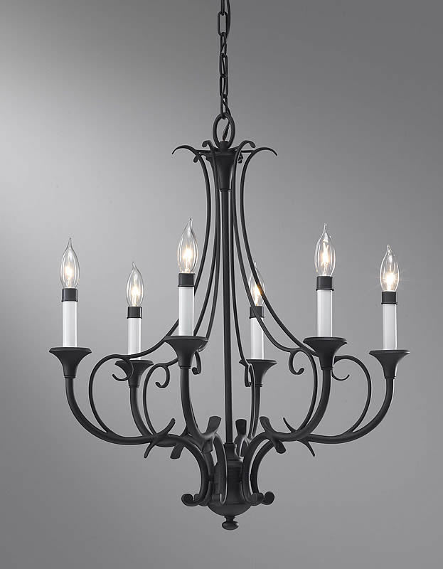 "24""w Peyton 6-Light Chandelier Black"