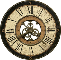 Brass Works Wall Clock Antique Brass with Worn Dial