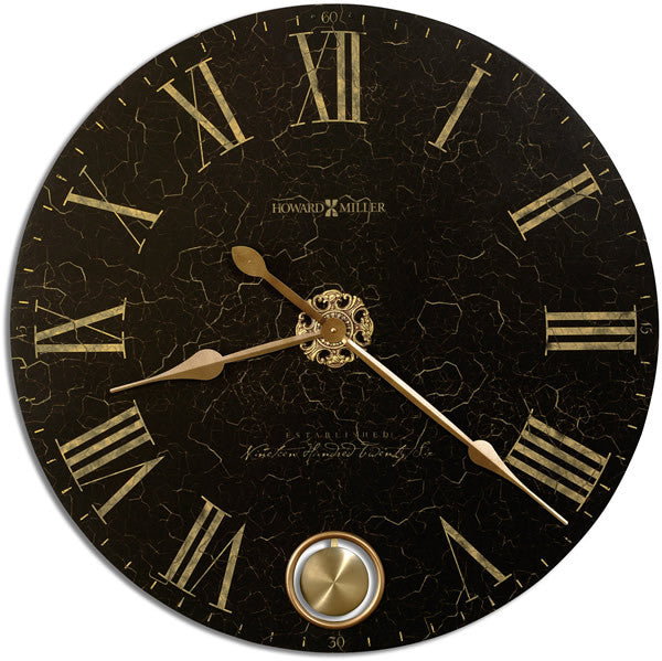 "32""H London Night Antique Wall Clock Black Crackle"