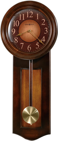 Dual-Tone Avery Wall Clock Distressed Rustic Cherry