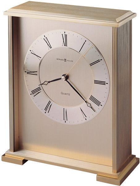 Exton Table-top Clock Brushed and Polished Brass