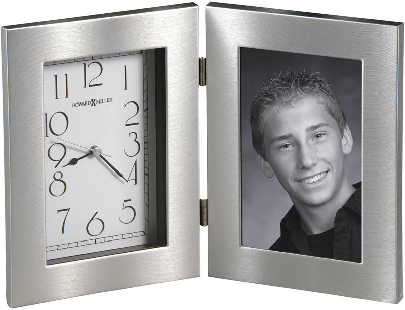 "8""H Lewiston Tabletop Clock Brushed Silver"