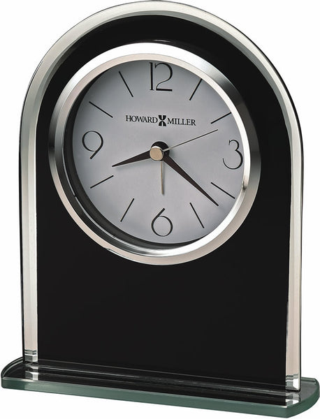 Howard Miller Ebony Luster Alarm Clock in Black Glass 645702