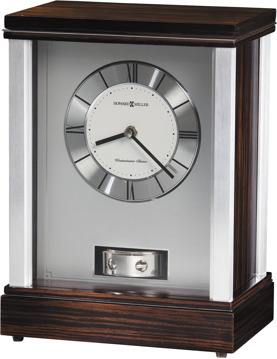 Gardner Clock Ebony and Silver Tone