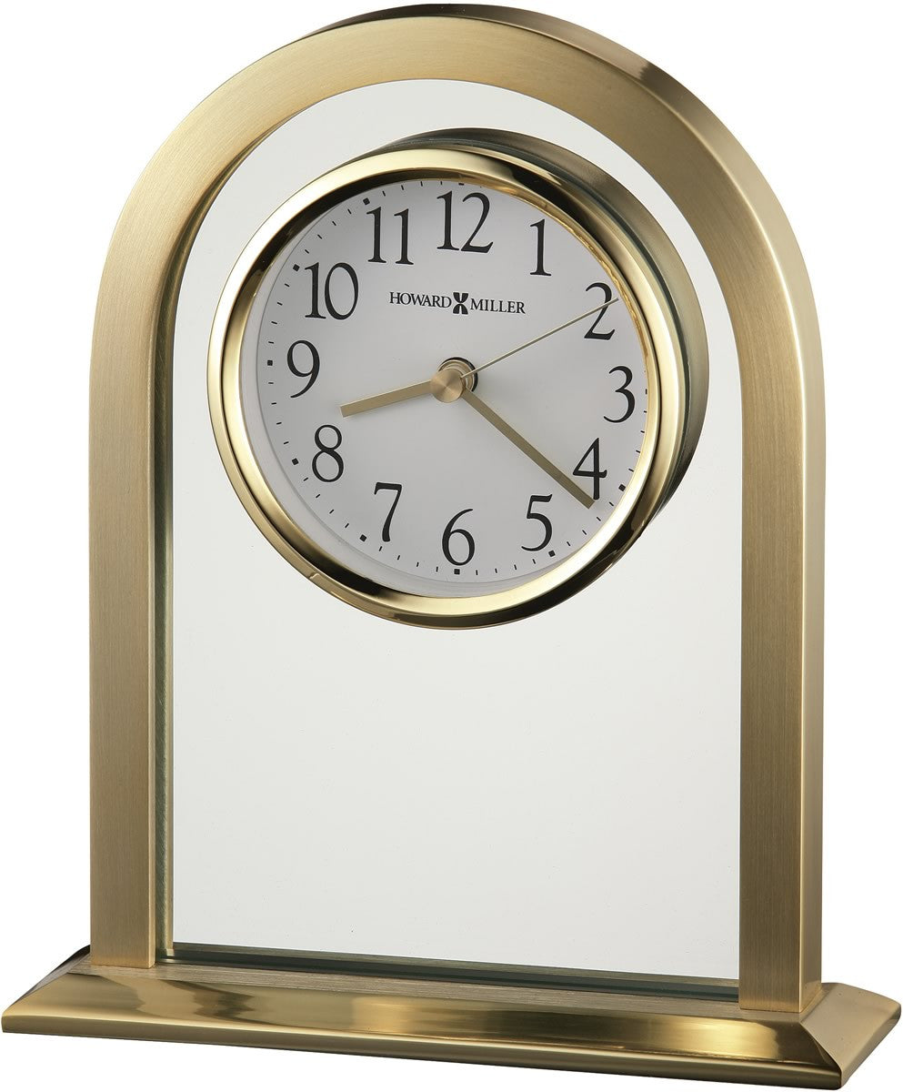 Imperial Table Clock Brushed and Polished Brass Tone